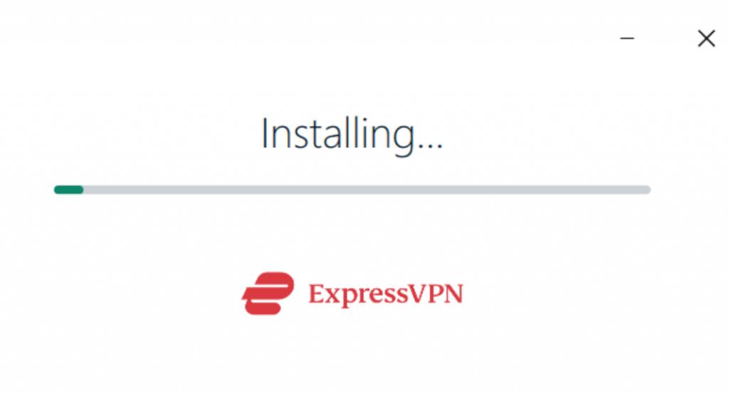 Screenshot showing the ExpressVPN setup client mid-installation