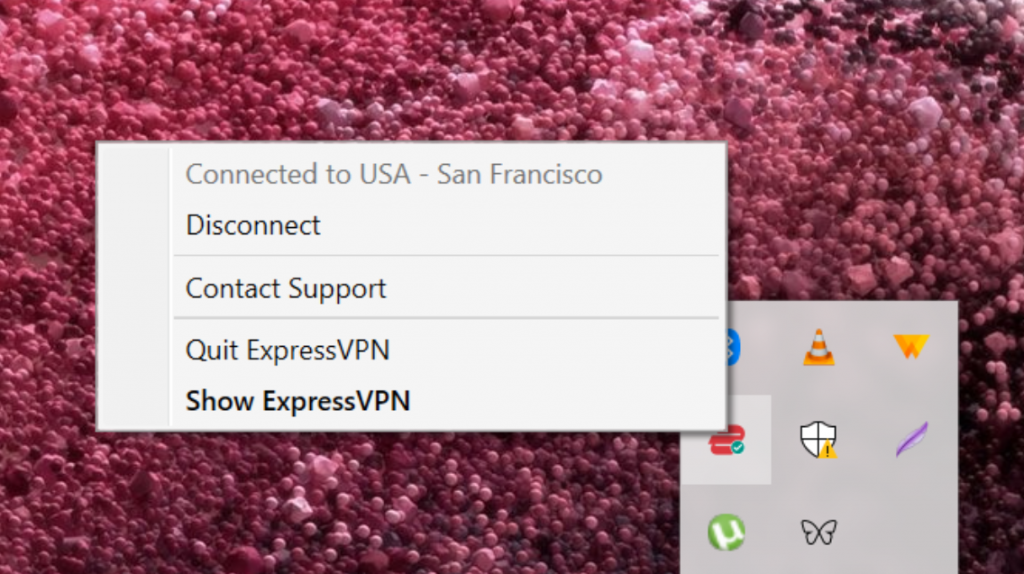 Screenshot showing options after right-clicking on ExpressVPN icon.